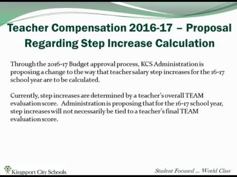 KCS Teacher Compensation 2016-2017 Proposal
