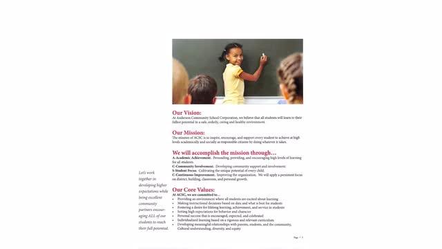 Brochure describing Anderson Community School Corporation.