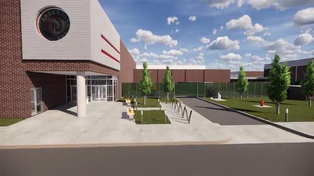Architectural video of the outside of Anderson High School' construction changes.