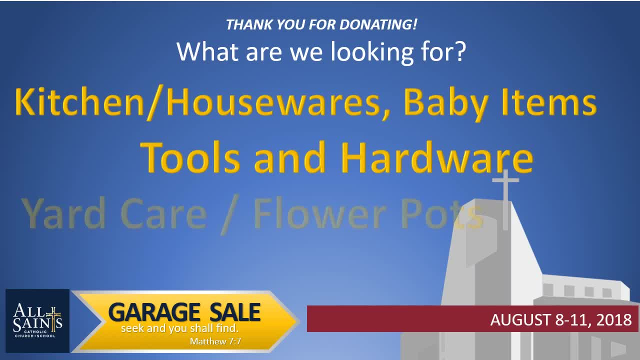 2018 All Saints Garage Sale | All Saints Catholic Church