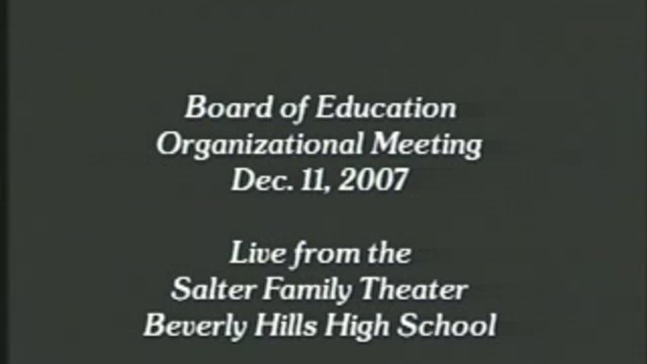 12/11/07 Beverly Hills Unified School District - Board