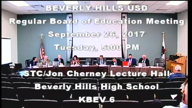 BHUSD Regular Board Meeting 9-26-17
