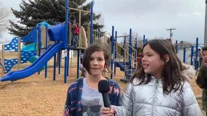 Students talk about their new playground equipment