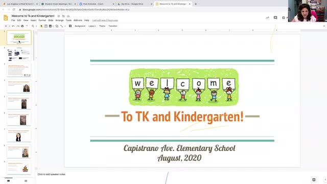 Kinder and Transitional Kinder Orientation Zoom video from Wednesday, August 12, 2020.