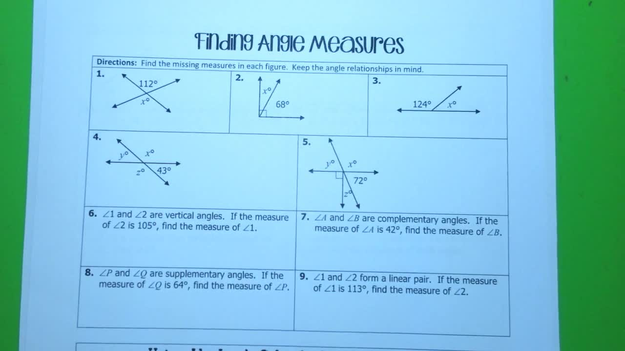 Finding Angle Measures Notes Cleburne High School