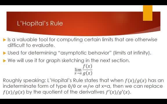7.7 L'Hopitals Rule