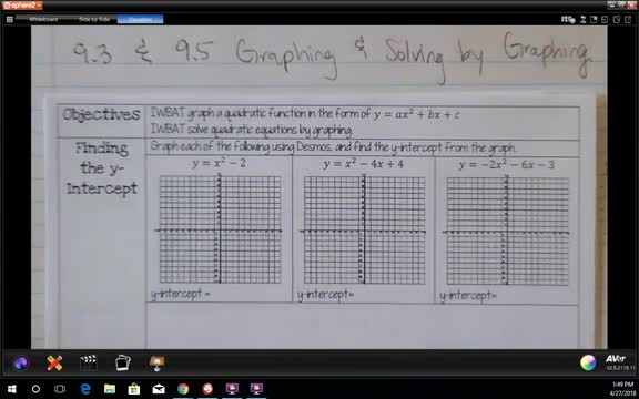 9.3 & 9.5 Graphing and Solving by Graphing