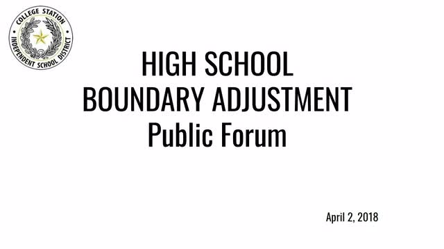 Boundary Adjustment Public Forum April 2nd