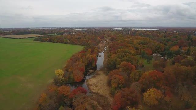 A bird's-eye view of Cranbury during peak Fall foliage 2018.
