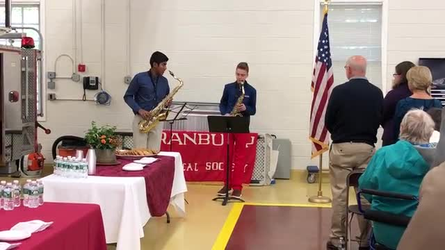 Students Charlie Vachris and Rohun Chivate perform the National Anthem at the Cranbury Historical & Preservation Society Dedication Ceremony to honor the memory of Elizabeth M. Wagner.