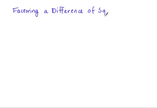 Factoring Difference of Squares Part 1