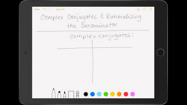 Complex Conjugates and Rationalizing the Denominator