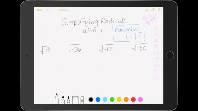 Simplifying Radicals with i