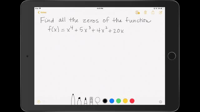 Finding the Zeros of a Polynomial Function 1