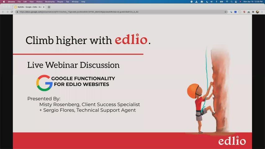 [Edlio Webinar] Google Functionality for Edlio Websites screencap