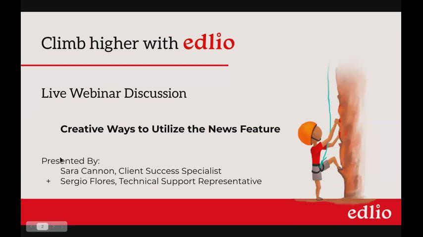 Creative Ways to Utilize the News Feature Edlio Webinar screencap