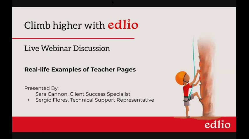 Real Life Examples of Teacher Pages Webinar Screencap