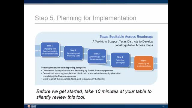 Equity Plan Step 5: Planning for Implementation