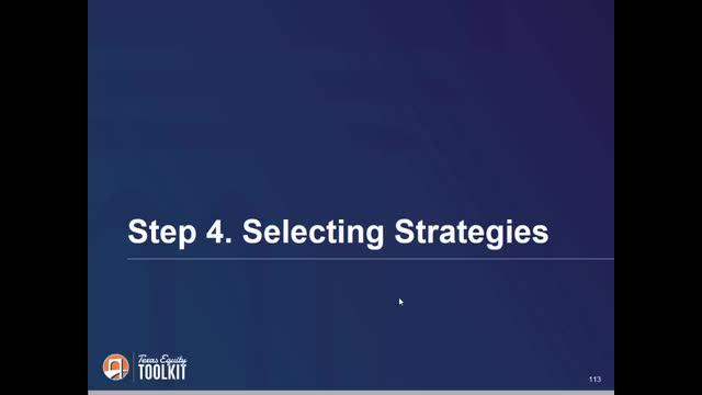 Equity Plan Step 4: Selecting Strategies