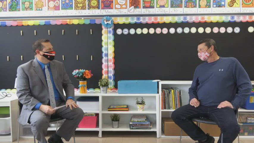 In this edition of Superintendent Sitdown, Billy Smith visits with West Elementary custodian Danny Price. Price received the honor of being named the Support Staff Member of the Year for the Fairfield City School District. Photo features Superintendent Billy Smith with Danny Price in a classroom at West Elementary School.