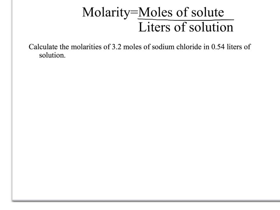 Molarity calculations 1,6, and 13 worked out!   Franklin High School
