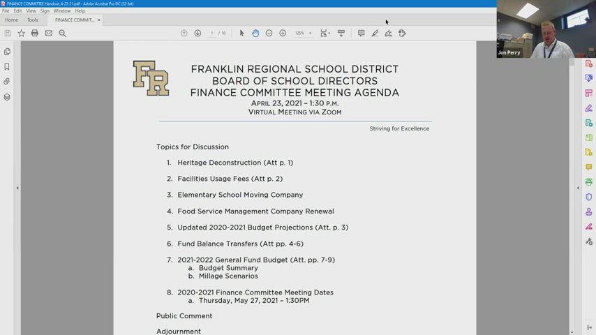 Franklin Regional Board of School Directors Finance Committee Meeting: April 23, 2021
