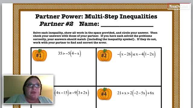 Partner 1 Solving Multi Step Inequalities Heritage Middle School