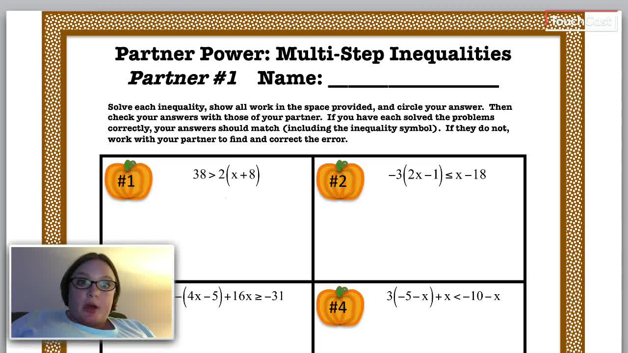 Partner 1 Solving Multi Step Inequalities Heritage Middle School