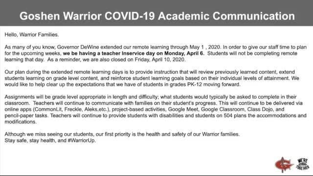 GLSD COVID-19 Academic Plan for April and Beyond