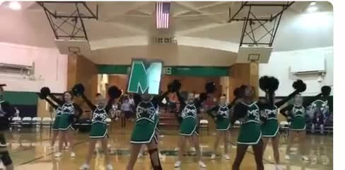 GMS Cheerleaders cheering at a GMS home basketball game on Nov. 12, 2018.