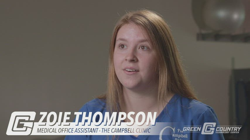 Video of Zoie Thompson, graduate of the Medical Office Assistant Program.