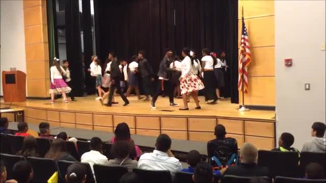 Spanish 1 students dance La Bamba on HRMS stage