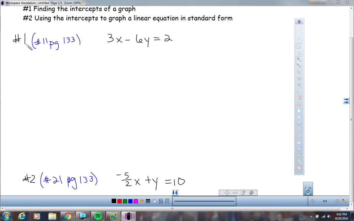 Lesson 34 Sample Problems Using Intercepts To Graph A Linear
