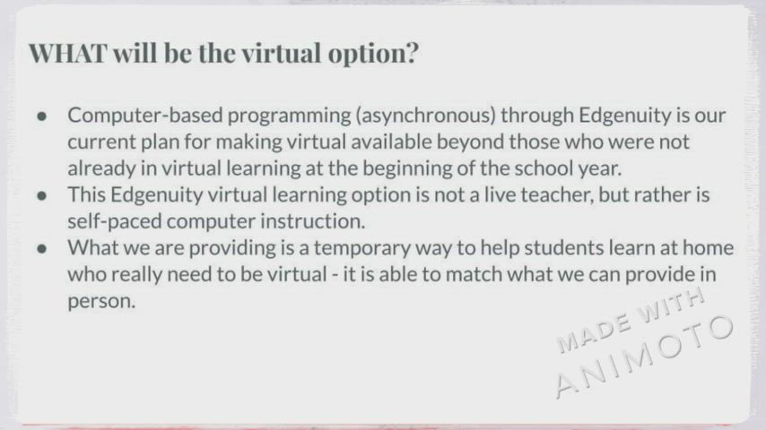 Video describing virtual learning options for 2021.