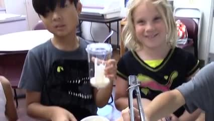 Summer School fun in the kitchen smoothie video.