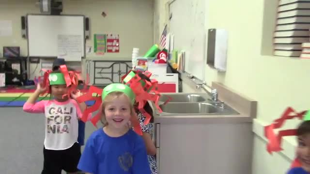 Summer school spider hat parade by incoming kindergartners.