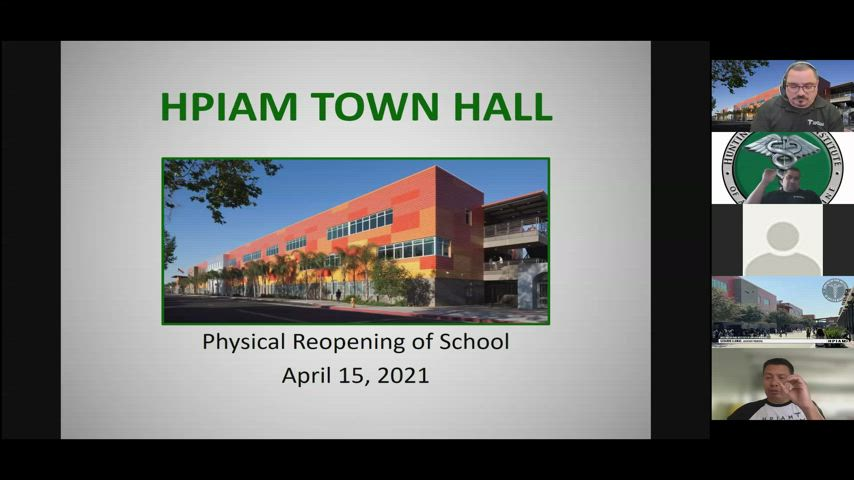This is a recording of the Zoom Webinar held on Thursday, April 15, 2021, to present on our current plans for the Physical Reopening of the Linda Marquez Campus scheduled for April 27, 2021.