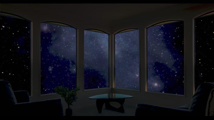 A living room cruising through space