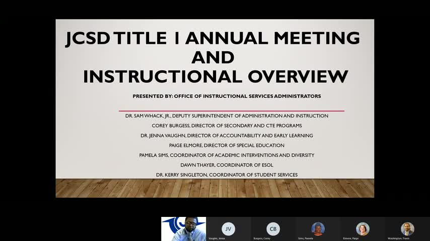 JCSD Annual Title 1 Meeting