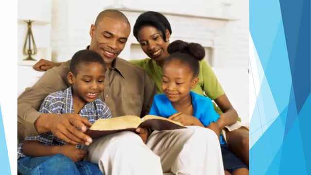 Parents reading with children.