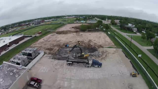 Aerial video of La Porte High School demolition and construction