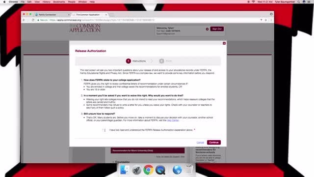 Naviance tutorial for FERPA waiver form on the Common Application