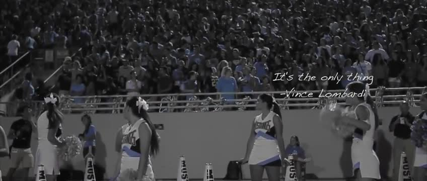 Video clips of fans cheering in the stands and students playing football