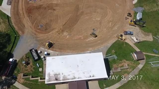 Aerial video of construction at MHS football stadium