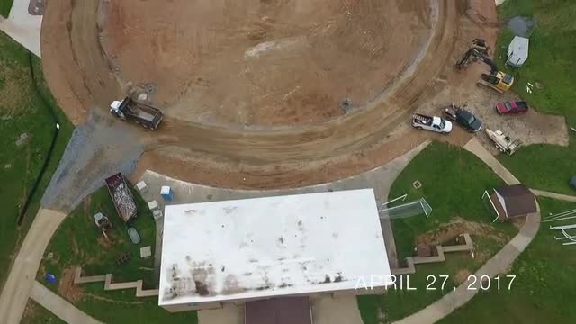 Aerial view of stadium construction