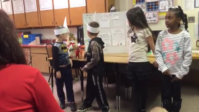 Students presenting their project on Christmas in Sweden.