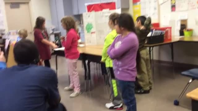 Students presenting their project on Christmas in Germany.