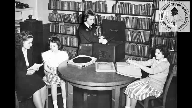 Brief movie of student using the talking book circa 1940