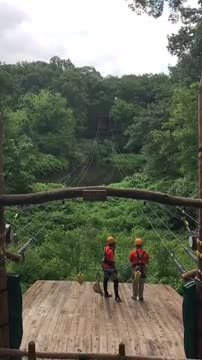 Zip Lining at Treetop Adventures at the Bronx Zoo by a Van Cleve students and a staff member.