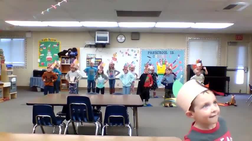 Preschool doing the Turkey Trot